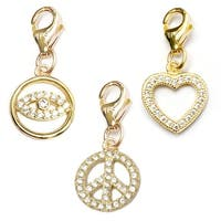Julieta Jewelry Peace Sign, Lucky Eye, Heart 14k Gold Over Sterling Silver Clip-On Charm Set