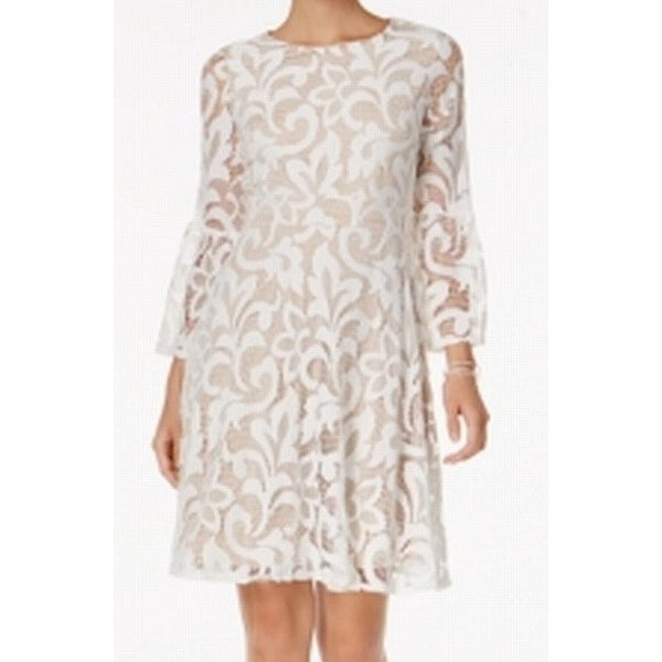 fe8153d5038aa Shop Jessica Howard Nude Women Lace Fit & Flare Shift Dress - Free Shipping  On Orders Over $45 - Overstock - 21723390