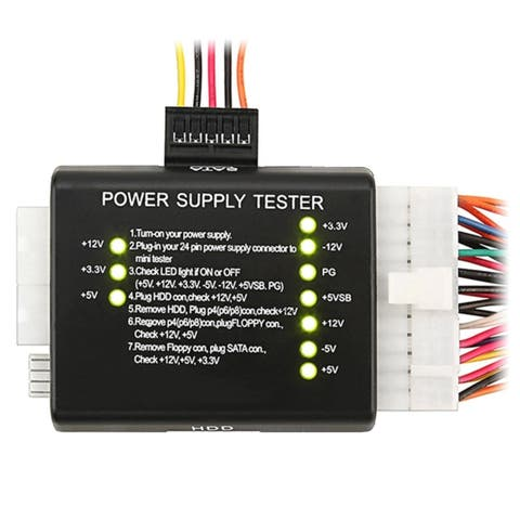 Insten 20 / 24-pin Power Supply Tester for ATX / SATA / HDD, Black