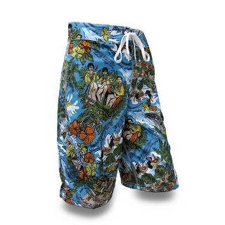 Mens Hibiscus Flower Island Song Print Board Shorts