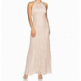 Nightway Beige Women's 10P Petite Sequin Lace Illusion Gown Dress