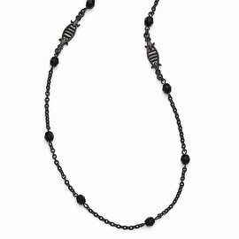 Black IP Downton Abbey Black Glass Necklace - 36in