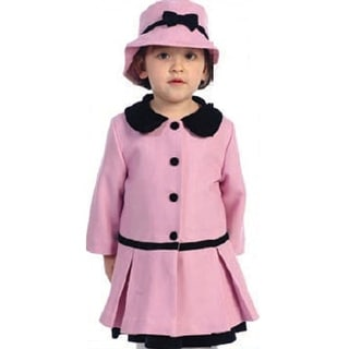 Angles Garments Toddler Little Girls Pink Classic Coat Hat Set 2T-8
