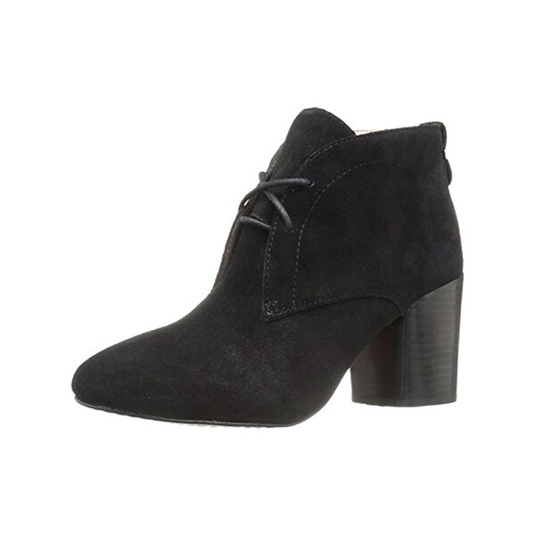 French Connection Womens Dinah Ankle Boots Suede Stacked Heel