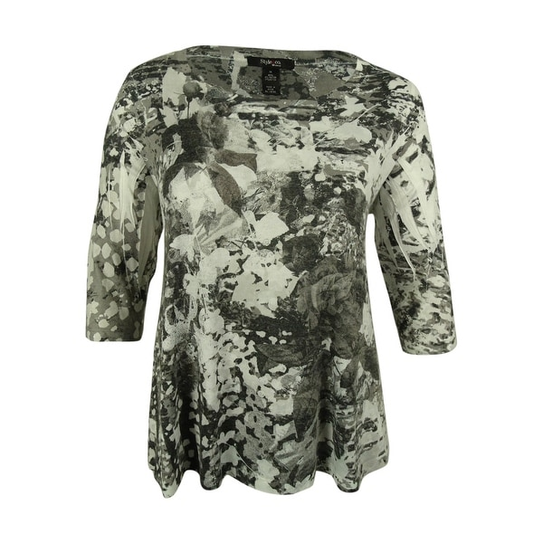 Style & Co. Women's Floral Print Swing Top - skins of nature