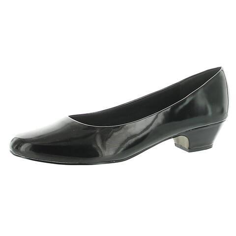 Easy Street Womens Halo Dress Pumps Velvet Low Heel - Black/Shiny