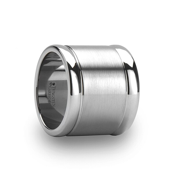 THORSTEN - ALBUQUERQUE Flat Brushed Finish Center Tungsten Ring with Polished Edges - 20mm