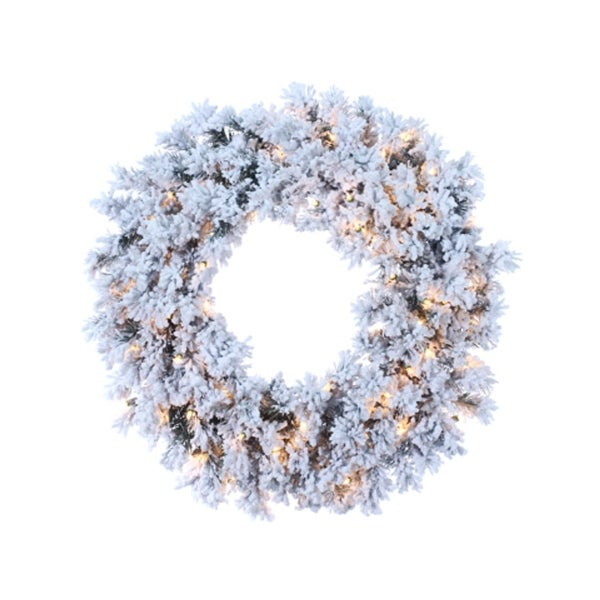 "30"" Pre-Lit Flocked Chestnut Jubilee Artificial Christmas Wreath - Clear Lights - WHITE"