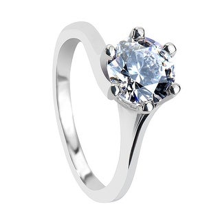 TIFFANY Classic Six Prong Solitaire Silver Engagement Ring with Polished Finish - MADE WITH SWAROVSKI® ELEMENTS - White