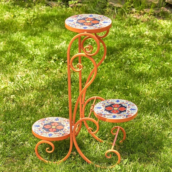 "Set of 2 ""Saint Petersburg"" Folding Iron Mosaic Plant Stands - Large. Opens flyout."
