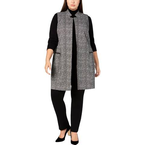 Calvin Klein Womens Plus Vest Open Front Mid-Length