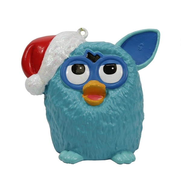 "3.5"" Blue Furby Wearing a Red Glittered Santa Hat Christmas Ornament"