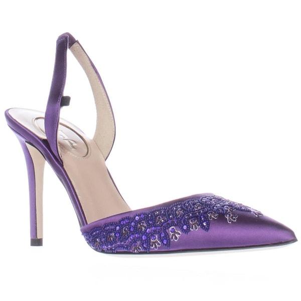 SJP Josephine Sling-Back Pointed Toe Heels, Purple Satin