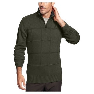 Tricots St Raphael 1/4 Zip Mockneck Sweater Small S Olive Heather Windowpanes