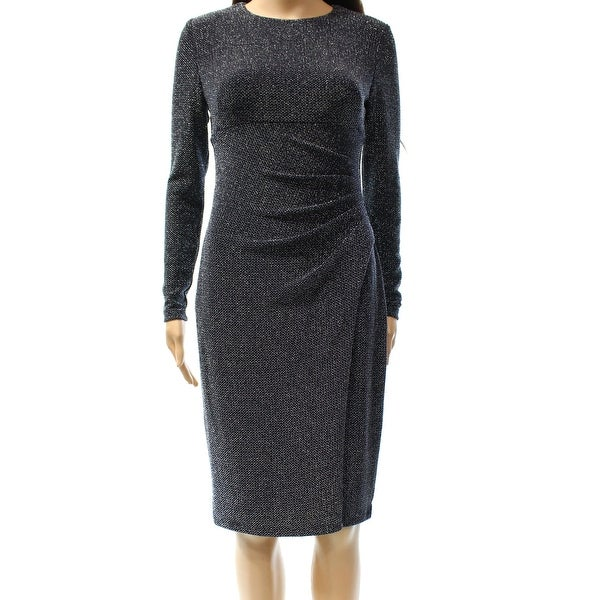 Lauren Ralph Lauren NEW Navy Blue Silver Women\u0026#x27;s Size 0 Sheath Dress