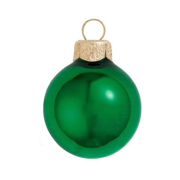 "28ct Shiny Green Xmas Glass Ball Christmas Ornaments 2"" (50mm)"