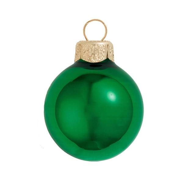 "8ct Shiny Green Xmas Glass Ball Christmas Ornaments 3.25"" (80mm)"