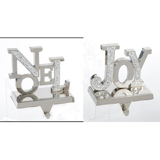 """Pack of 6 Mirrored Inspirational Hand Crafted Pewter Christmas Stocking Holders 4.75"""""""