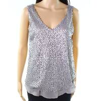 Eyeshadow Silver Gray Womens Size Medium M Sequin V-Neck Cami Top
