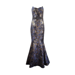 JS Collections Women's Strapless Brocade Mermaid Gown - 8