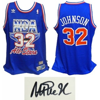 Magic Johnson Western Conference 1992 All Star Game Official Adidas Blue Swingman Jersey