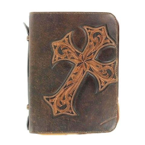 Nocona Western Bible Cover Case Stitched Cross Marble Brown 0