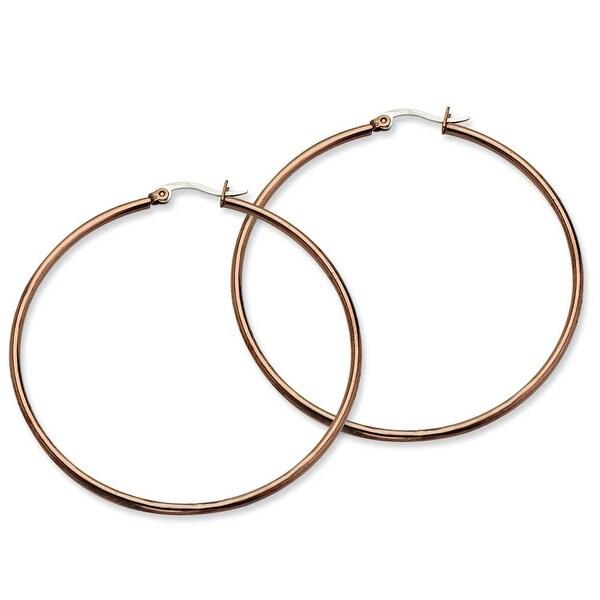 Chisel Stainless Steel Brown IP 60mm Hoop Earrings