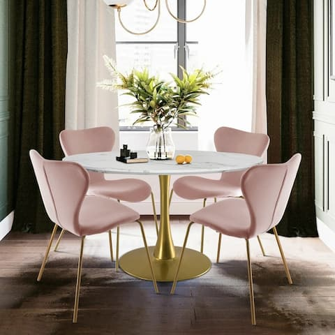 5-Piece Dining Set with Velvet Chair and Dining Table
