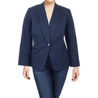Tahari ASL Womens Plus One-Button Blazer Pindot Office - 20W