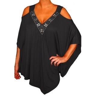 Funfash Plus Size Women Open Shoulder Black Blouse Top New Made in USA (4 options available)