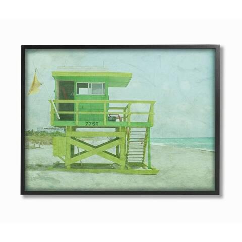 Stupell Industries Vintage Green Lifeguard Stand Sandy Beach Photograph Framed Wall Art
