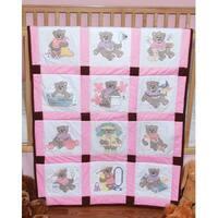 "Stamped Baby Quilt Blocks 9""X9"" 12/Pkg-Girl Bears"