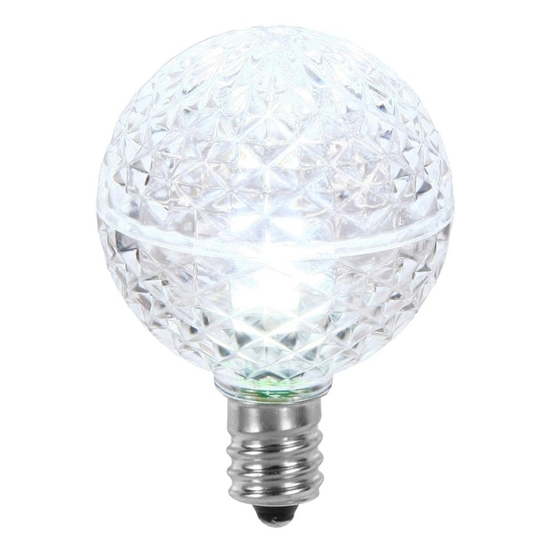 Club Pack of 25 LED G40 Cool White Faceted Replacement Christmas Light Bulbs