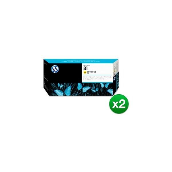 HP 81 Yellow DesignJet Dye Printhead & Printhead Cleaner (C4953A) (2-Pack)
