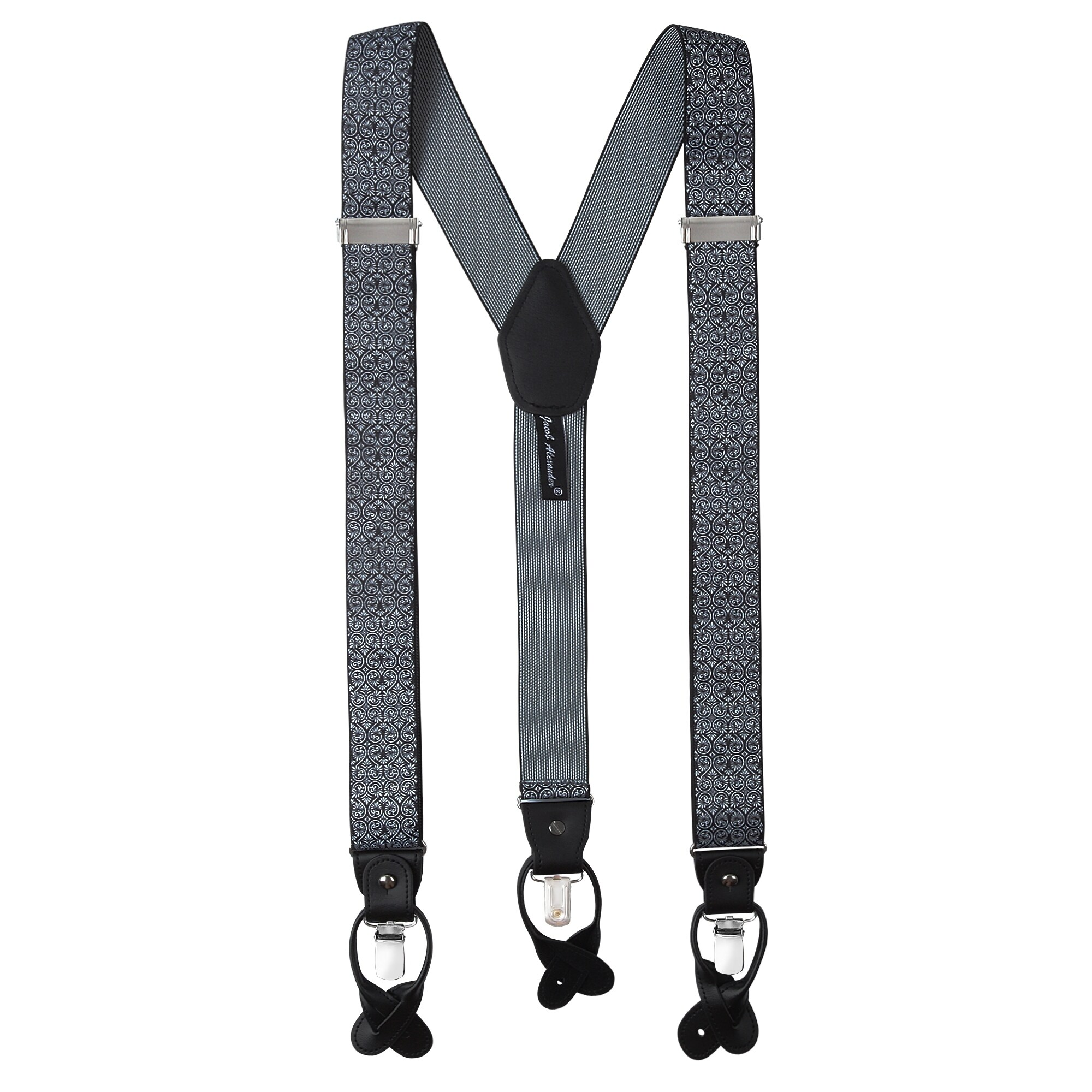 1 Inch Y-Back Black /& White Zig Zag Suspenders