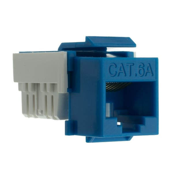 Offex Cat6a Keystone Jack, Blue, RJ45 Female to 110 Punch Down