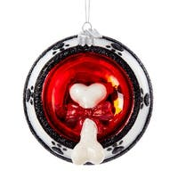 Dog Bone in Food Bowl Christmas Holiday Ornament Glass Noble Gems