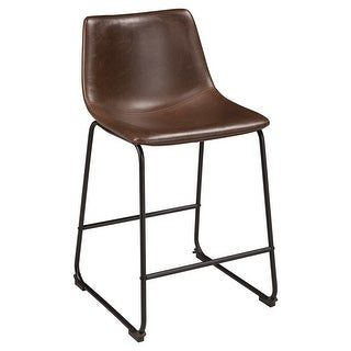 Ashley Furniture Counter Height Upholstered Barstool w/ Warm Brown Finish (4 Pack)