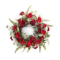 """Pack of 2 Valentines Red Poppy and Geranium Flowers Artificial Wreaths 24"""" - Unlit - Green"""