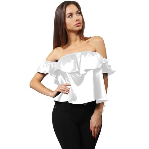 NE PEOPLE Women's Luminous Satin Ruffled Off Shoulder Blouse Top