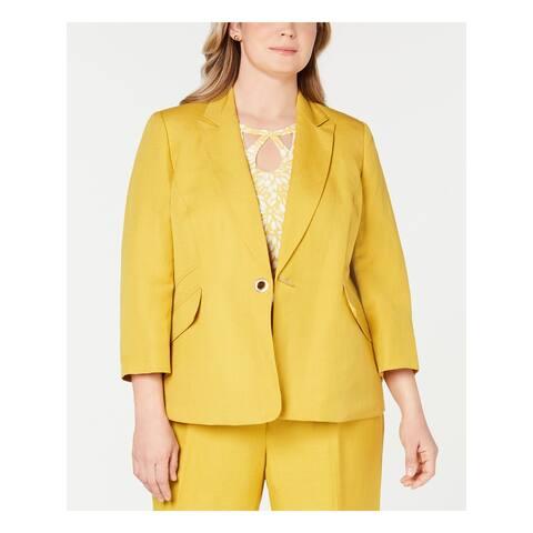 KASPER Womens Yellow Blazer Wear To Work Jacket Size 24W
