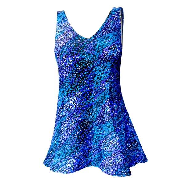 V-Neck Swimdress with Tank Style Straps in Blue Mosaic Print