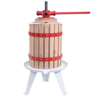 Costway 1.6 Gallon Fruit Wine Press Cider Apple Grape Crusher Juice Maker Tool Wood