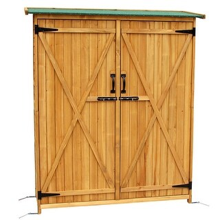 "64"" Tall Garden Storage Shed Fir Wood Shed Tool Cabinet"