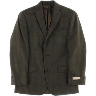 MICHAEL Michael Kors Mens Plaid Classic Fit Two-Button Suit Jacket