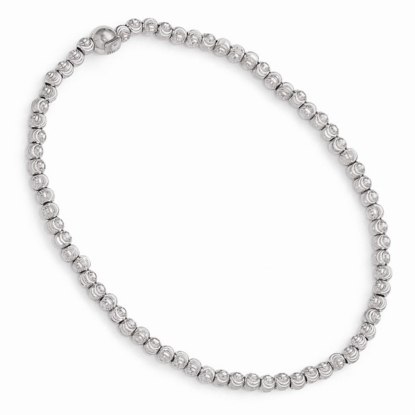 Italian Sterling Silver Polished & Diamond Cut Beaded Stretch Bracelet - 7.5 inches
