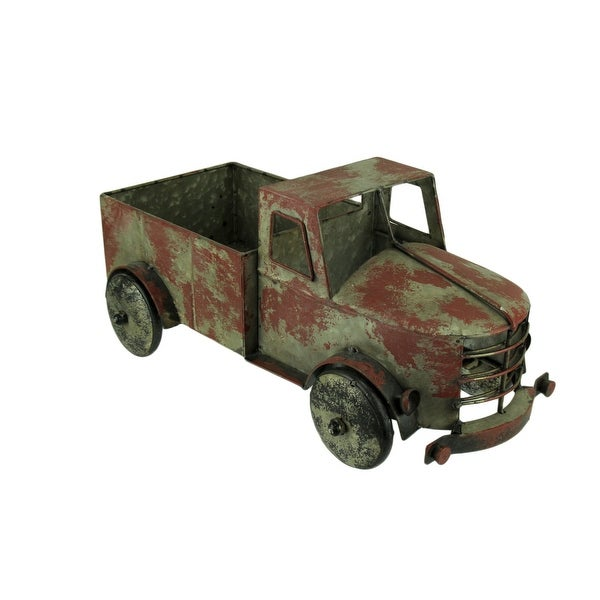 Rustic Red Metal Antique Truck Indoor or Outdoor Planter - 7.75 X 17 X 9 inches