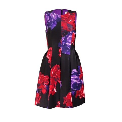 Calvin Klein Women's A-Line Floral Scuba Knit Dress - Red Multi