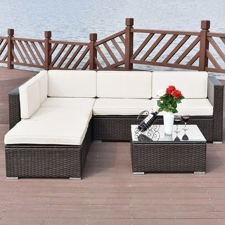 Costway 4 PCS Outdoor Patio Rattan Wicker Furniture Set Loveseat Cushioned Yard Garden
