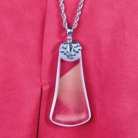 Women's 5X Magnifying Glass Crystal Pendant Necklace